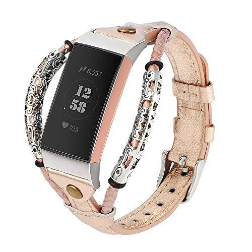 Wearlizer Armband Kompatibel für Fitbit Charge 3/Fitbit Charge 4 Armband Leder, Handmade Twist Strip Strap, Vintage Metal Rivet Rope Wristband Stylish Bracelet für Fitbit Charge 3/4 / SE (Roségold)