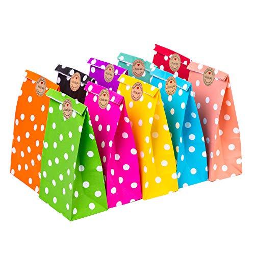 50 Stücke Geschenktüten Mit 54 Stücke Aufkleber Thank You Geschenktaschen Präsenttüten Papiertüten Papiertaschen Papier Tragetaschen (#1)