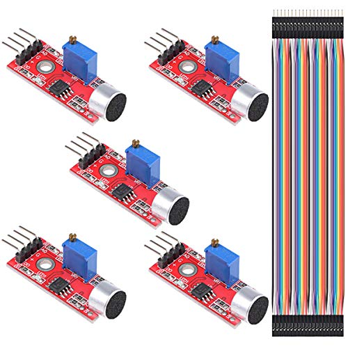 DAOKI 5PCS Microphone Sound Sensor Module AVR PIC High Sensitivity Voice Detection for Arduino with Dupont Cable
