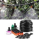 CjnJX-Vases Kit de Micro irrigación, Sistema de Micro riego por Agua, Plantas de Invernadero de jardín, riego automático, Kit de Manguera de 15 m con Accesorios incluidos
