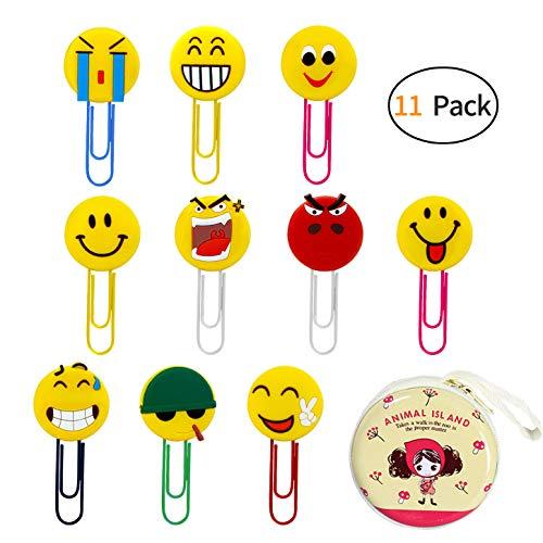 10 piezas de marcadores Emoji lindos y caja de almacenamiento de 1 piezas, clip de papel divertido, marcador de libro de emoticonos de novedad para niños, niñas, niños, estudiante de la escuela