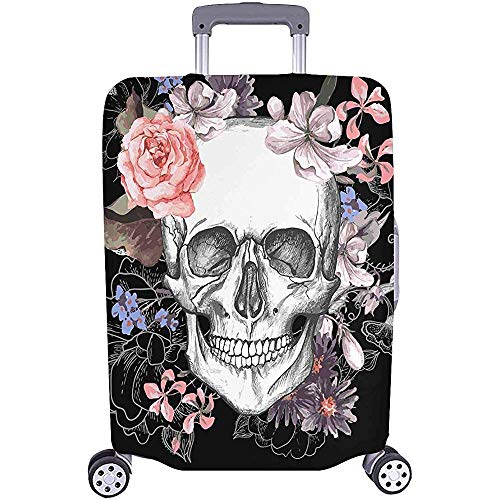 Travel Luggage Protectors Suitcase Covers Skull and Flowers Vintage Fit Luggage Size M