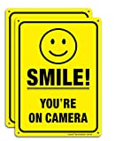 (2 Pack) Smile You're On Camera Video Surveillance Sign - 10 x7 Inches .040 Rust Free Heavy Duty Aluminum - Indoor or Outdoor Use for Home Business CCTV Security Camera,UV Protected & Reflective