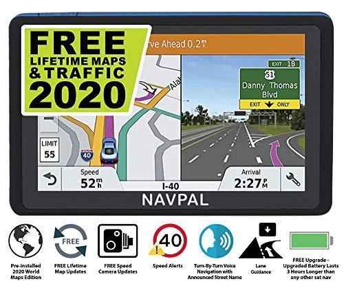 Slimline Satelliten Navigationsgerät mit 2019 GB-, Europakarten [vorinstalliert], GPS-Navigation für PKW, LKW, Wohnmobile, Postleitzahlen, Radarkameras und Mautpunkte