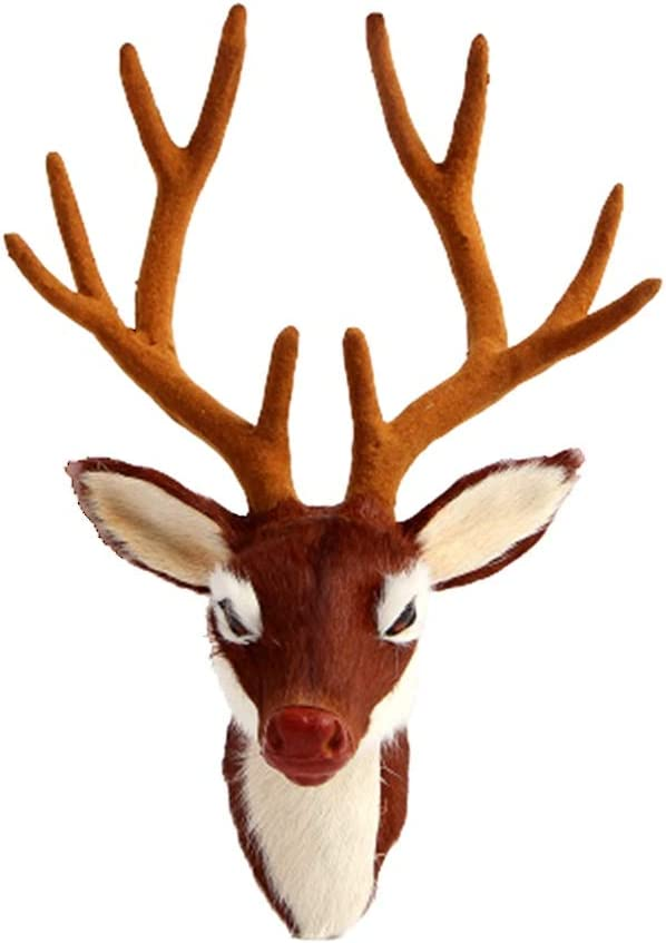 Muellery Deer Head Wall Décor Wall Mount Elk Plush Stuffed Animal Wall Hanging Decoration