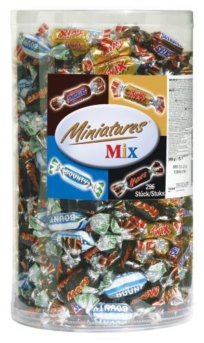 Miniatures Mix Schokoriegel | Mars, Snickers, Bounty, Twix | 296 Riegel in einer Box (1 x 3 kg)