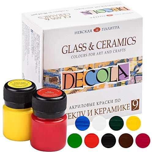 Decola Porzellanfarbe Set | 9 x 20 ml Glasmalfarben Set |  Hohe Abdeckung  auf dunklen Oberflächen und hoch deckend von Neva Palette