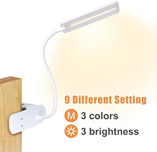 18 LED 3 livelli di luminosit/à lampada a clip di lettura USB ricaricabile per lavoro e studio. Vivibel Lampada a LED a clip,lampada da scrivania con sensore touch