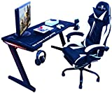 Mesa Gaming, 140cm x 60cm, Gaming Desk, Mesa para Ordenador Consola PS5, Xbox Series, Patas de Acero, RGB LED, Base de...