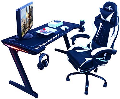 Mesa Gaming, 140cm x 60cm, Gaming Desk, Mesa para Ordenador Consola PS5, Xbox Series, Patas de Acero, RGB LED, Base de Alfombrilla, Parrilla para Recoger Cables