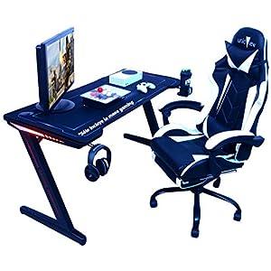 Mesa Gaming, 140cm x 60cm, Gaming Desk, Mesa para Ordenador Consola PS5, Xbox Series, Patas de Acero, RGB LED, Base de…