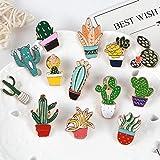 SHAOWU Spilla in Smalto per Piante dei Cartoni Animati Spille Colorate in Vaso di clorofito di Cactus Spille piacevoli alla Vista Distintivi Comodi Jeans Risvolto Stile gioielli6