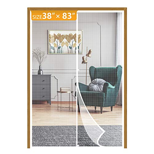 Yotache White Magnetic Screen Door Fits Door Size 38 x 83, Upgraded Anti-Tearing Fiberglass Mesh French Door Screens with Magnets Fit Doors Up to 38'W x 83'H Keep Bug Out
