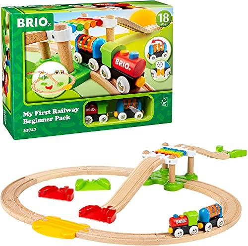 BRIO - 33727 - Mon Premier Circuit de Découverte - My First Railway - Coffret complet 18 pièces avec pont suspendu - Circuit de train en bois - Jouet mixte à partir de 18 mois