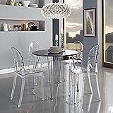 Across-EU Shop Lot de 2 Ghost Chaises en Acrylique Polycarbonate pour Salle à Manger, Salon, Bureau, Restaurant et Jardin,...