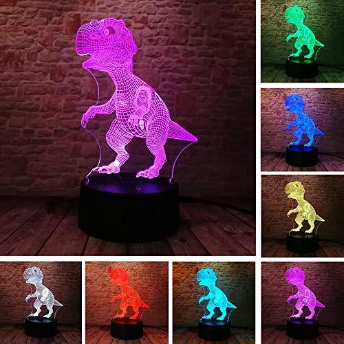 Einzigartiger Tyrannosaurus Rex Dinosaurier Drache 3D 7 Farbwechsel Visuell Rgb Nachtlicht Jungen Kind Mann Schlafend Urlaub Freund Gif Fernbedienung