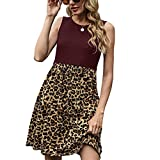 Women Summer Casual Dress Sexy Leopard Print Tank Sundress A Lined Swing Dress with Pockets Wine Red