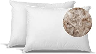 Down and Feather Bed Pillows - Two Fill Options Universal for All Sleepers w/Cotton Casing - Made in The USA, Set of 2 - Standard