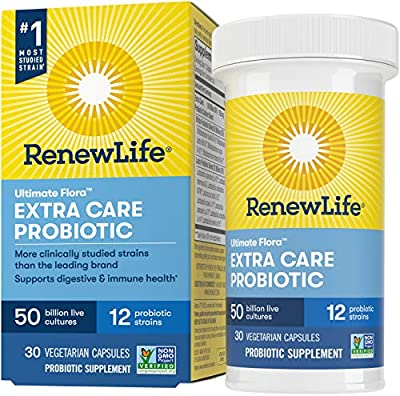 Renew Life - Ultimate Flora Probiotic Extra Care - 50 billion - daily digestive and immune health supplement - 30 vegetable capsules