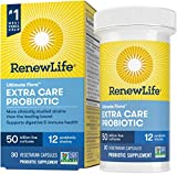 Renew Life Adult Probiotics 50 Billion CFU Guaranteed, 12 Strains, For Men & Women, Shelf Stable, Gluten Dairy & Soy Free, 30 Capsules, Ultimate Flora Extra Care- 60 Day Money Back Guarantee