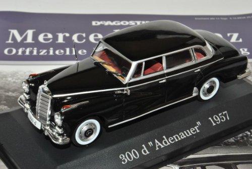 Ixo Mercedes-Benz 300D Limousine Adenauer W189 Schwarz Nr 6 1/43 Modell Auto mit individiuellem Wunschkennzeichen