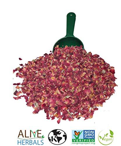 Alive Herbal Dried Red Rose Buds and Petals   4 Oz   Fresh, Food Grade Edible Fragrant Natural flavor   Best for - Making Rose Tea, Rose Water, Baking, Desserts, Cakes, Breads, Syrup, Cookies   Halal   Vegan   Kosher   Caffeine Free