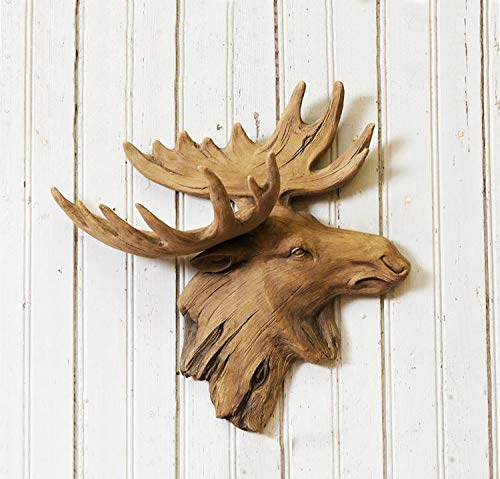 AR Country Store Large Moose Head Wall Hanging Décor Hunting Lodge Cabin Sculpture 3D Plaque Faux Driftwood Resin