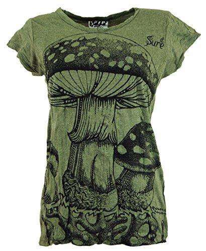 Guru-Shop Sure T-Shirt Fliegenpilz, Damen, Olive, Baumwolle, Size:M (38), Bedrucktes Shirt Alternative Bekleidung