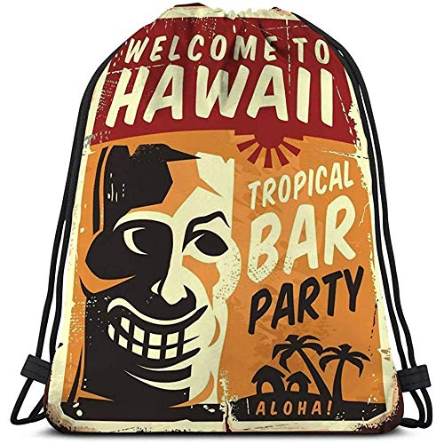 Für Turnbeutel Sportbeutel Retro Hawaii Metallschild Tropical Bar Poster Vorlage Tiki Maske Old Grunge Yellow Backgroundmotion 6976