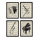 Nacnic Instruments Poster Set | Klavier, Geige, Cello,