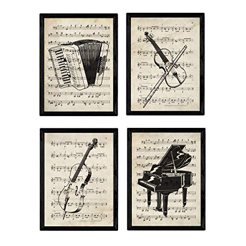 Nacnic Vintage Instrumente Poster 4-er Set. Vintage Stil Wanddekoration Abbildung von Streich- und Blasinstrumenten mit Noten. Verschiedene kreative Bilder ohne Rahmen. Größe A4.
