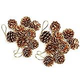 Colgante de cono de pino,18 piezas de adorno de conos de pino de Navidad,cono de pino natural con manualidades colgantes de cuerda para la decoración colgante de árbol de Navidad(dorado)