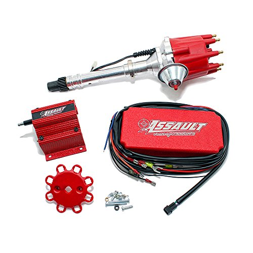 Assault Racing Products 1535031 Chevy V8 Pro Billet Red Vacuum Advance Distributor Coil Ignition Box Kit SBC BBC 327 350 396 454