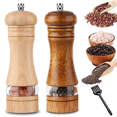 InFreesh Pfeffermühle aus Holz, 2er-Set Keramikmahlwerk mit Salz- und Pfeffer Mühle, Gewürzmühle mit Reinigungsbürste(16,5cm)