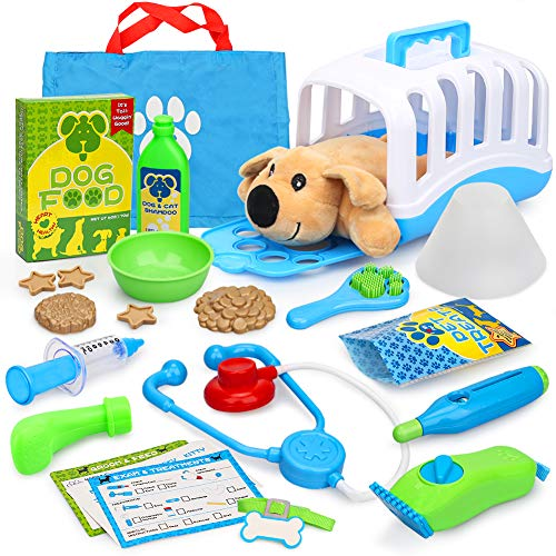 24 Teile Tierarzt-Spielset Arztkoffer Doktorkoffer Kinder Rollenspiel Kit Lernspielzeug Geschenke für Kinder mit Korb, Stethoskop, Spielzeug Hund