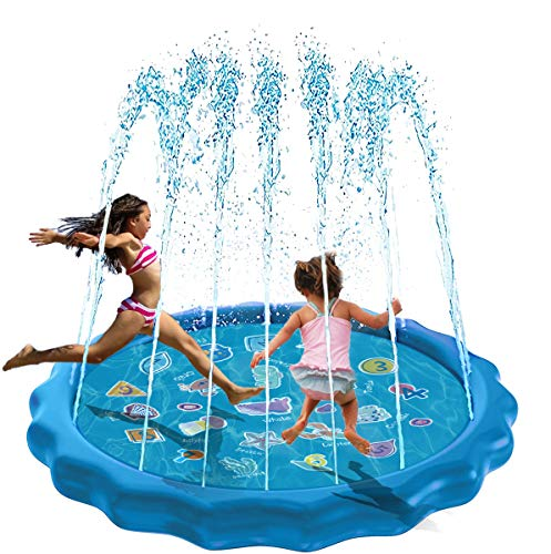 """10Leccion 68"""" Sprinkler for Kids Outdoor Water Toys Splash Pad for Yard Toddlers, Educational Wading Swimming Pool for Infant, Backyard Fountain Play Mat for Girls Boys Children & Dogs"""