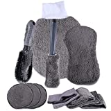 JahyElec 10 Piezas Set Limpieza Coche Herramientas Kit de Lavado de Autos para Cuidado Coche (3 Paños, 3 Almohadillas para Vaho, 2 Cepillo para Llantas, Guante, Esponja)