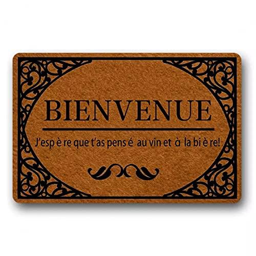 SOTUVO Felpudo Entrada Felpudo de Bienvenida para Entrada Alfombrilla de Puerta Idioma francés BIENVENUE.¡J'espère Que t'as pensé au Vin et à la bière!Alfombra de caucho-16x24 Inch
