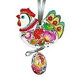 keleiesXD Colgante Colgante de Madera de Pascua Remolque de Pascua ChickenWood Huevos de gallina Adornos Colgantes Decoraciones para Ventana de Adorno de artesanía de Pascua Kind
