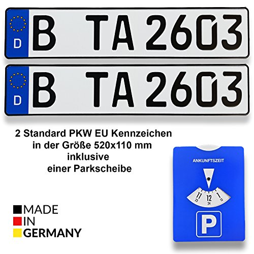 TA TradeArea DIN-gecertificeerde kentekenplaat in de standaard grootte 520 x 110 mm inclusief parkeerschijf geschikt voor alle Duitse voertuigen en fietsendragers 520 mm x 110mm x 1 mm 2 kentekenplaten.