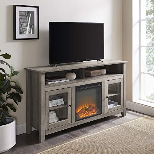Walker Edison Furniture Company Rustic Wood and Glass Tall Fireplace Stand 64' Flat Screen Universal TV Console Living Room Storage Shelves Entertainment Center, 32 Inches, Gray Wash