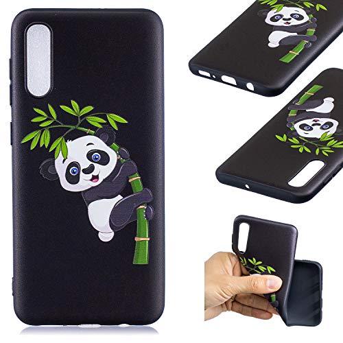 HopMore Compatible pour Coque Samsung Galaxy A50 2019 Silicone Noir Étui Motif Drôle Créative Panda Kawaii Etui Samsung A50 Souple Antichoc Housse de Protection Mince Gel Case Fine - Panda de Bambou