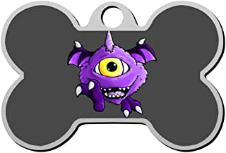 Reiligh Pet ID Tag One Eyed One Horned Flying Purple People Eater Personalized Bone Shaped Dog Tags & Cat Tags Identity with Double Sided Printed - DIY Custom