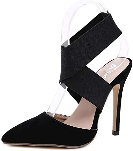 Mamrar Femmes Pompe Slingbacks Talons Hauts Sandales 12cm Stiletto Pointu Orteil élastique OL Chaussures de Cour de l'UE Taille 34-40