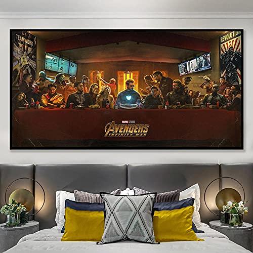 Póster de película de superhéroe imagen de arte de pared grande pintura en lienzo para habitación de niños decoración del hogar regalo   70x140cm sin marco