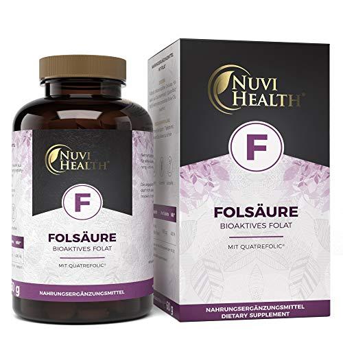 Nuvi Health® Folzuur - 800 μg Folat per tablet - 240 stuks (8 maanden) - Premium: Quatrefolic® - Met 5 MTHF de hoogste bioverbruikbare vitamine B9 - laboratorium getest - vegan - hoge dosis