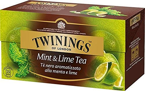 Twinings Tè Aromatizados - Menta y Lima - Precioso té Negro Aromatizado con Frutas, Flores, Especias y Esencias - Sabor Envolvente, Excelente tanto Caliente como Frio (25 Bolsas)