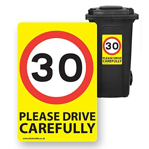 30 Mph Geschwindigkeitsschilder [6 x Pack] – A4 Vinyl-Aufkleber, gelber Hintergrund, ideal für Mülltonnen