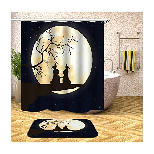 Abellale Bad Vorhang Für Badzimmer Zwei Kaninchen Hase Duschvorhang Unique Bunt 120x180CM
