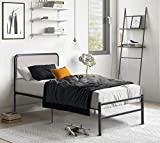 Albott Twin XL Bed Frame/Platform Bed with Upholstered Headboard & Strong Four U-Shaped Metal Frame - Heavy Duty Metal Mattress Foundation/Easy Assembly/No Box Spring Needed/Noise-Free, Light Grey